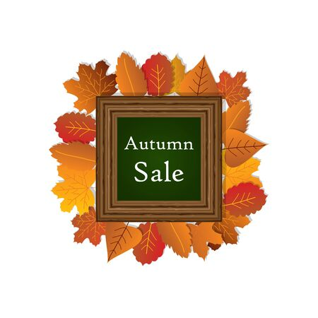 Autumn sale with wood frame and maple leave on white background vector