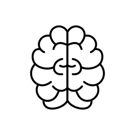 Brain, mind or intelligence outline vector icon for graphic