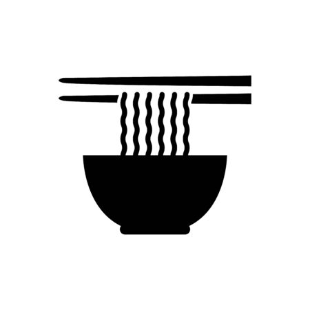 Noodle soup bowl with chopsticks vector icon food concept for graphic design