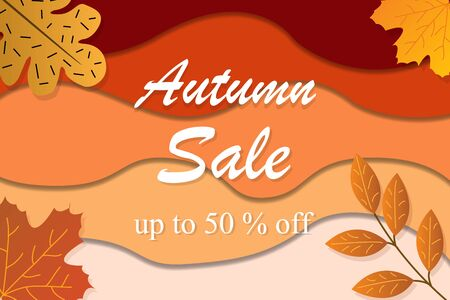Autumn sale vector for shopping sale, promo poster, web banner template illustration Stok Fotoğraf