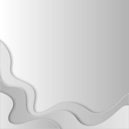 paper art abstract gray and white water waves. Origami design template. Vector illustration