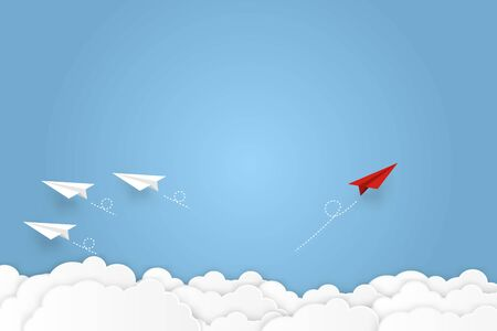 Paper plane go to success goal vector business financial concept start up, leadership, creative idea symbol paper art style Reklamní fotografie - 129147595