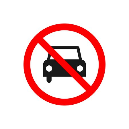 No car allowed prohibition vector icon sign Do not drive symbol, no cars entry isolated on white background.illustration Foto de archivo - 129147676