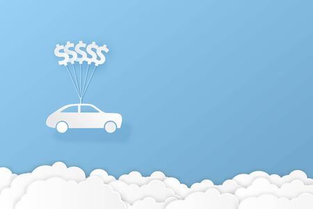 Car hanging with dollar sign balloon and cloud paper art illustration design for finance concept