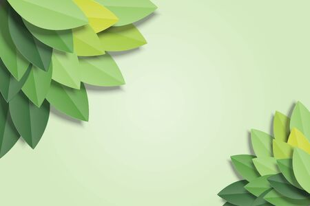 Green leaves frame on green background. Trendy origami paper cut style vector illustration. Ilustrace