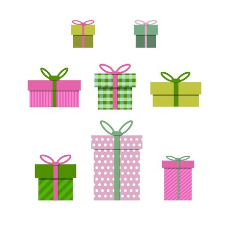 Gift boxes set vector illustration for sale, shopping, birthday, christmas concept for graphic design, web site, social media, mobile app, ui Reklamní fotografie - 129147784