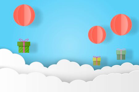 Gift box hanging with balloon and cloud paper art vector illustration design for birthday, christmas, festival concept