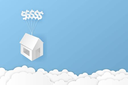House hanging with dollar sign balloon and cloud paper art illustration design for finance concept