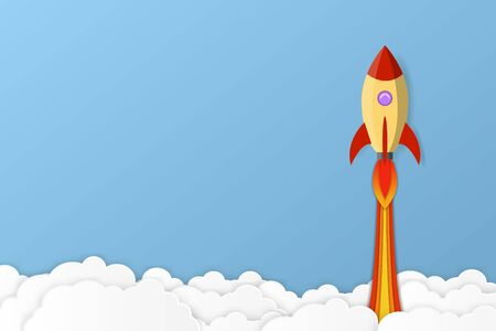 Rocket launch into space. Business project start up development and launch new innovation product on a market concept. vector illustration.