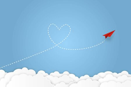 Paper plane. Dash heart in the sky. Valentines day greeting card and love concept. vector illustration Reklamní fotografie