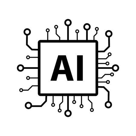 Artificial intelligence AI processor chip icon symbol for graphic design, web site, social media, mobile app, ui illustration Çizim