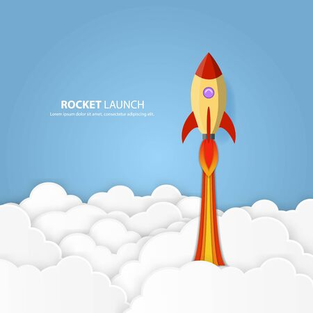 Rocket launch into space. Business project start up development and launch new innovation product on a market concept. vector illustration Reklamní fotografie - 131608120