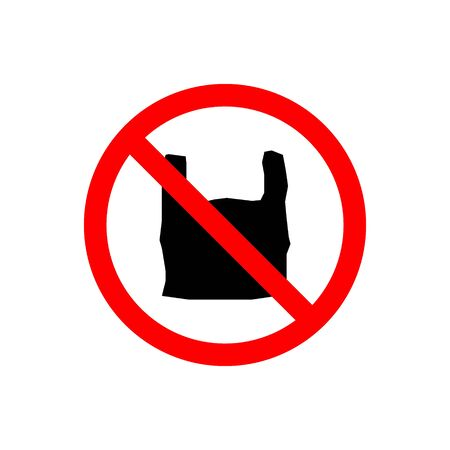 Say no to plastic bag vector icon sign in red stop circle environmental protection. illustration