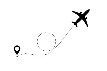 Aircrafts line path vector icon air plane flight route with start point and dash line trace on white background. Airplane travel concept with map pins, GPS points.