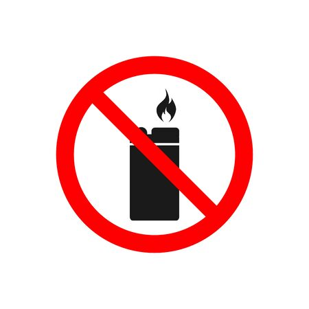 No lighter vector icon Ban fire source  for prohibited concept for your web site design, app, UI. illustration