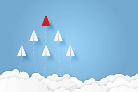 Paper plane go to success goal business financial concept start up, leadership, creative idea symbol paper art style with copy space for text. illustration