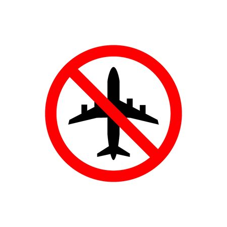 Do not fly vector icon. No aircraft access mark on white background. Symbol of transport, airplane,travel,traffic,warning. Prohibited ban stop sign. illustration