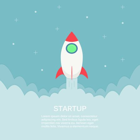 Rocket launch into space. Business project start up development and launch new innovation product on a market concept. Ilustrace