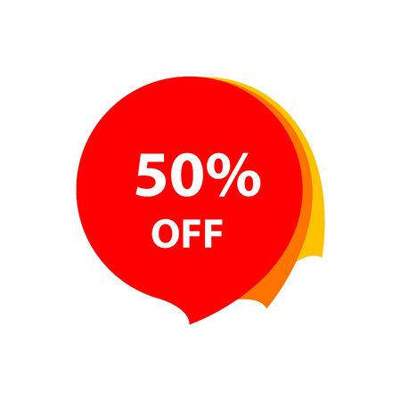 Sale 50% OFF discount sticker icon Red tag discount offer price label for graphic design, web site, social media, mobile app, ui illustration