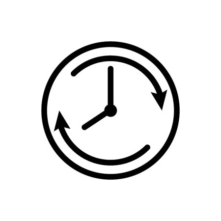 Clock with clockwise vector icon isolated on white background for graphic design, web site, social media, mobile app, ui illustration Ilustrace