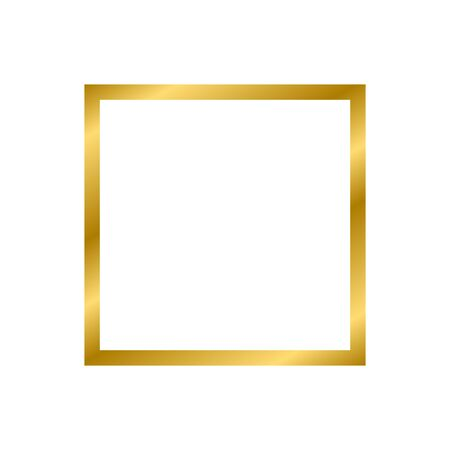 Gold shiny glowing vintage square frame with shadows isolated on white background. Gold realistic square border. Vector illustration