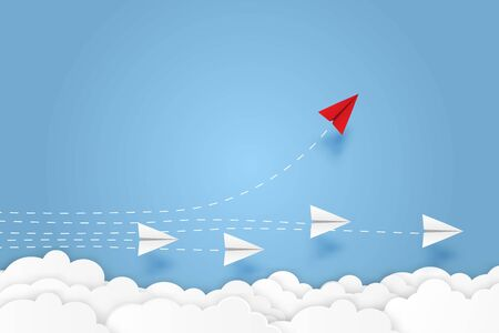 Paper plane go to success goal vector business financial concept start up, leadership, creative idea symbol paper art style with copy space for text. illustration Reklamní fotografie - 132618971