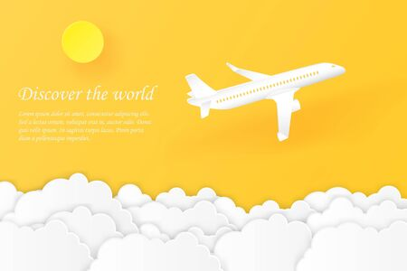 Discover the world airplane flying with yellow sky, sun and cloud air transportation, travel concept copy space for text. paper cut style vector illustration