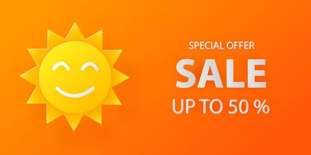 Summer sale smile sun on yellow and orange banner background. Discount offer. Paper art cut out styled. vector illustration
