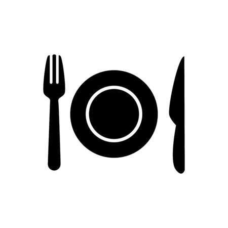 Plate, fork and knife icon vector restaurant symbol for graphic design, logo, web site, social media, mobile app, ui illustration