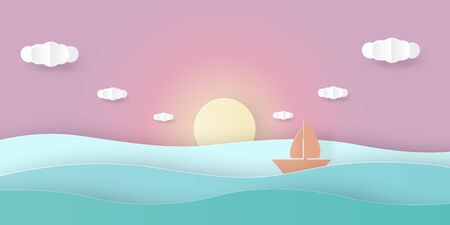 Sea view with sun set sky, floating sailing boat and cloud. Paper art cut out styled. vector illustration Ilustrace