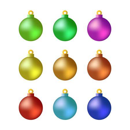 Christmas balls set vector illustration for graphic design, logo, web site, social media, mobile app, ui Reklamní fotografie