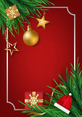 Christmas ball with star gifts box and pine leaves on red background for posters, cards, headers, website. realistic vector illustration.