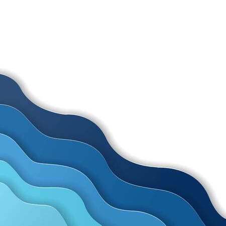 Paper art cut abstract blue water waves. Origami design template. Vector illustration