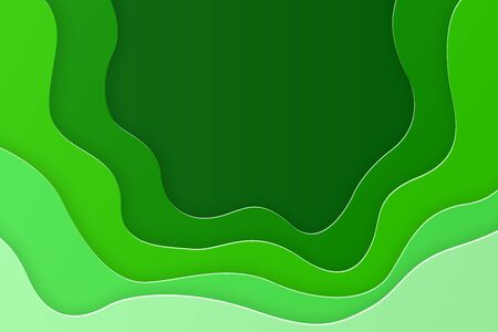 Green abstract paper carve. Origami design template. paper art cut style with copy space. Vector illustration
