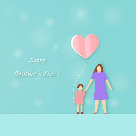 Happy Mothers Day mother and daughter with heart balloon in her hand with copy space on green background. paper art cut style vector illustration