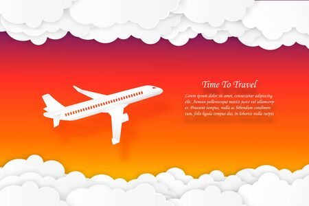 Time to travel airplane flying with sunset sky and cloud air transportation concept copy space for text. vector illustration Ilustrace