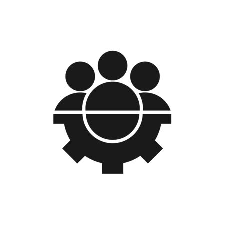 Group people with gear icon vector friendship teamwork sign. For your web site design, app, UI. illustration