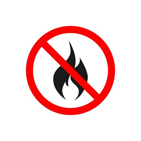 No fire vector icon for prohibited concept for your web site design, app, UI. illustration Ilustrace