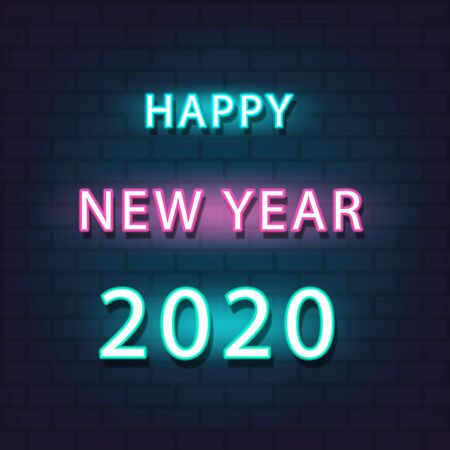 Happy New Year 2020 neon text for seasonal flyers and greetings card. Light Banner.