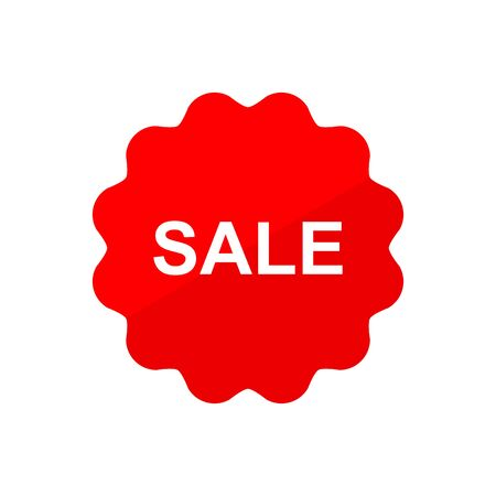 Sale discount sticker icon vector Red tag discount offer price label for graphic design,
