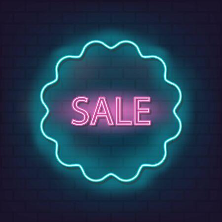 Sale neon sign vector discount offer price label for graphic design, Reklamní fotografie