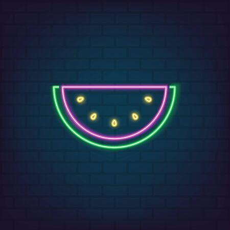 Watermelon slice neon style for graphic design, logo, web site, social media, mobile app, ui illustration