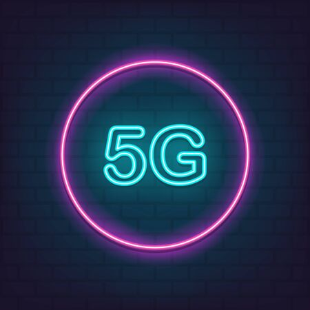 5G wireless internet wifi connection neon style for graphic design, logo, web site, social media, mobile app, ui illustration Reklamní fotografie