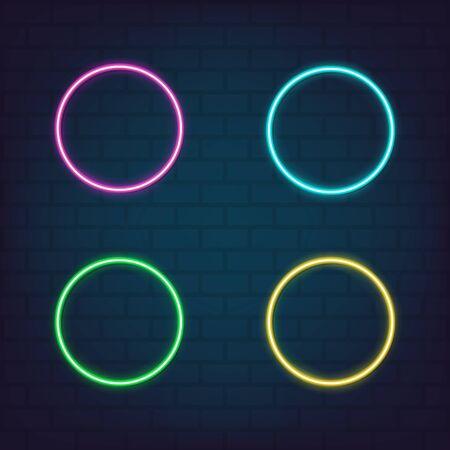 Abstract round glowing frame set neon style for graphic design, logo, web site, social media, mobile app, ui illustration Reklamní fotografie