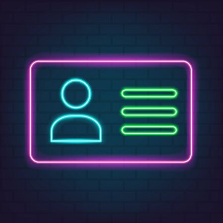 Employee clerk card, vcard icon illustration neon style for graphic design, web site, social media, mobile app, ui