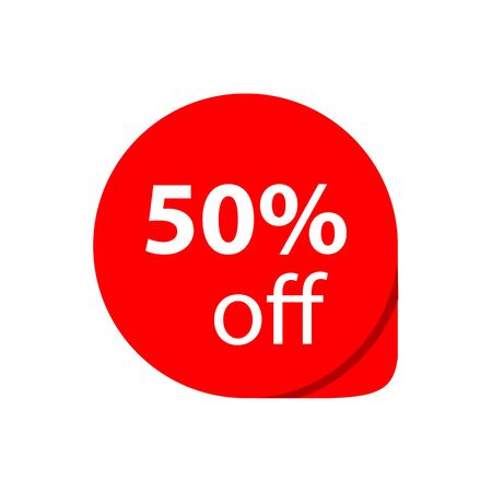 Sale 50% OFF discount sticker icon vector Red tag discount offer price label for graphic design, web site, social media, mobile app, ui illustration Ilustrace