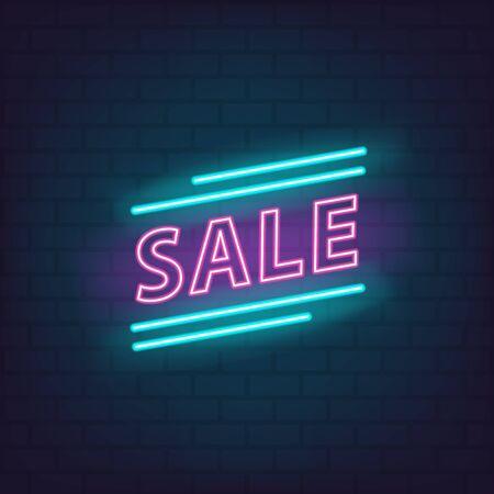 Sale neon sign discount offer price label for graphic design, web site, social media, mobile app, ui illustration Reklamní fotografie