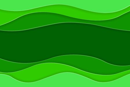 Eco green water waves. Paper art cut origami design template for flyers, bunners, presentations and posters. Vector illustration