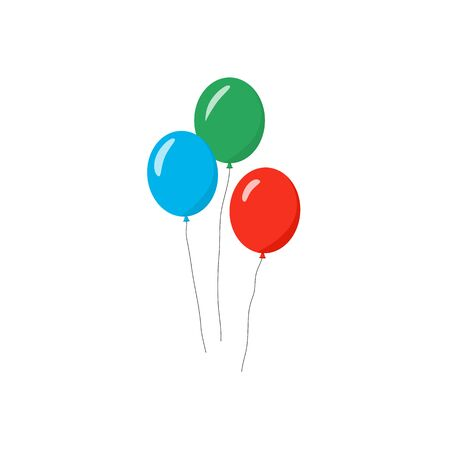 Set of balloons in cartoon flat style isolate on white background for graphic design, web site, social media, mobile app, ui vector illustration