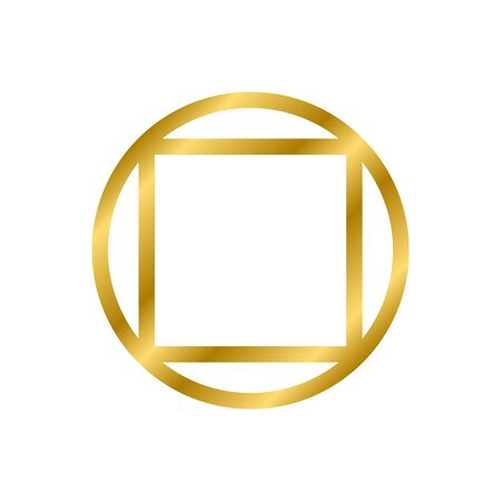 Gold shiny glowing vintage square and circle frame with shadows isolated on white background. Gold realistic square border. Vector illustration